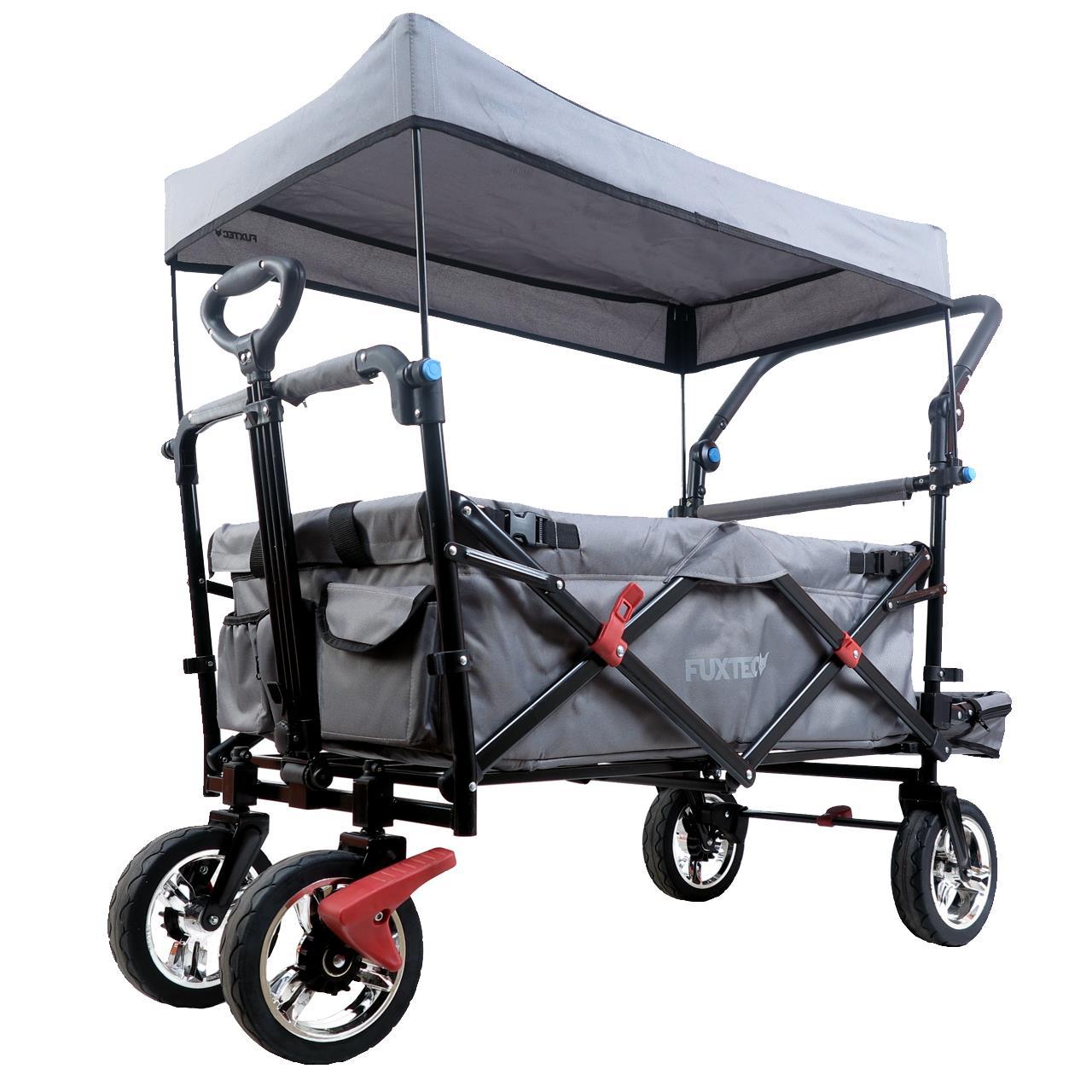 FUXTEC Bollerwagen FX-CT800 mit UV-geschütztem Sonnendach,Schiebegriff & Innenraumverlängerung