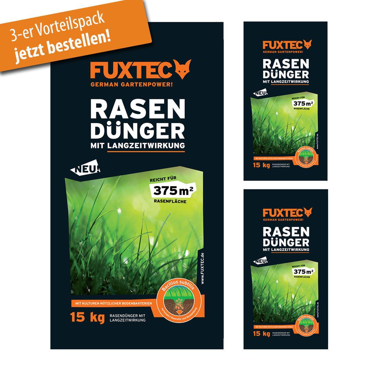3er Set FUXTEC Rasendünger mit Langzeitwirkung 15 Kg
